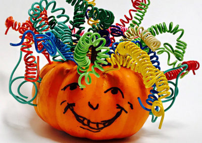 Smiling pumpkin with wire hair