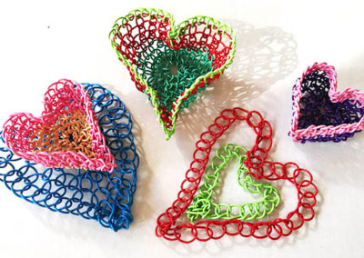Macrame heart baskets
